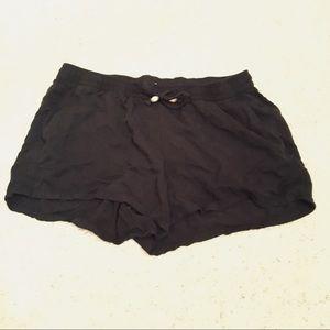 Black Rayon Shorts